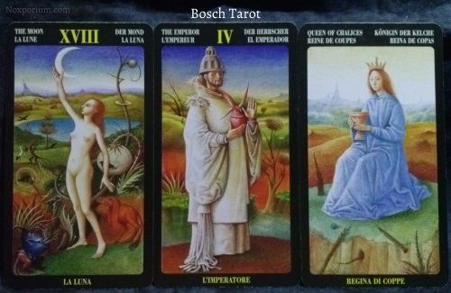 Bosch Tarot: The Moon, The Emperor, & Queen of Chalices.