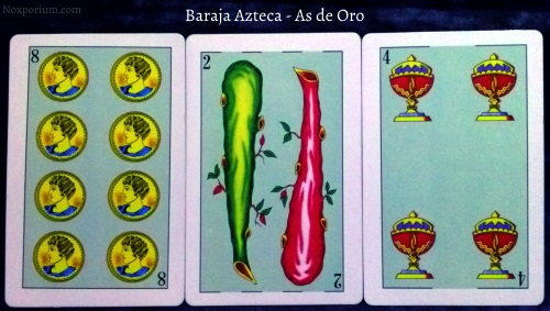Baraja Azteca - As de Oro: 8 Oros, 2 Bastos, & 4 Copas.