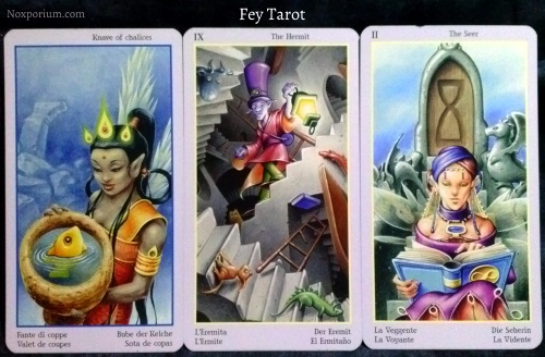 Fey Tarot: Knave of Chalices, The Hermit, & The Seer [II].