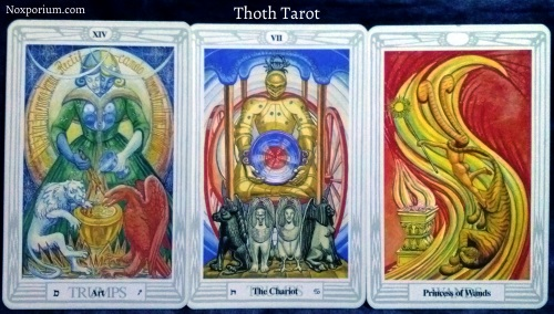 Thoth Tarot: Art [XIV], The Chariot, & Princess of Wands.