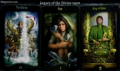 Legacy of the Divine: The Chariot, 5 of Cups, & King of Coins.