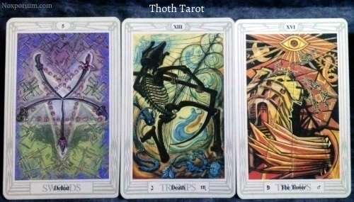 Thoth Tarot: 5 of Swords, Death, & The Tower.