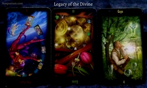Legacy of the Divine: The Fool reversed, 10 of Coins reversed, & 4 of Cups.