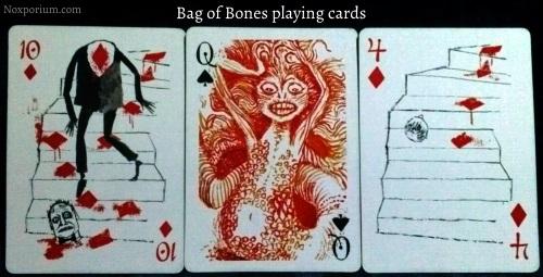 Bag of Bones: 10 of Diamonds, Queen of Spades, & 4 of Diamonds.