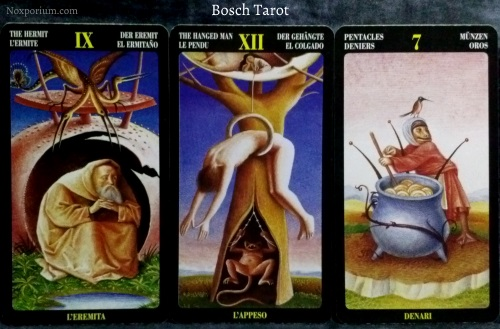 Bosch Tarot: The Hermit, The Hanged Man, & 7 of Pentacles.