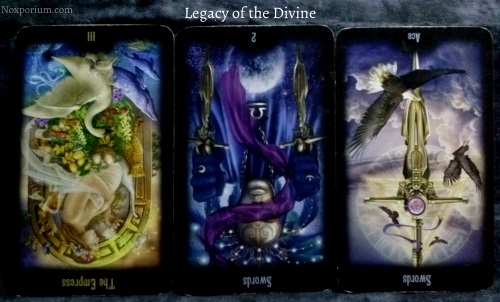 The Legacy of the Divine: The Empress reversed, 2 of Swords reversed, & Ace of Swords reversed.