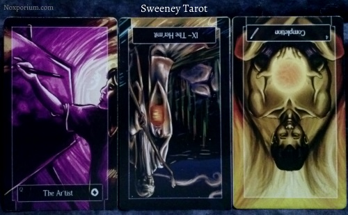 Sweeney Tarot: Queen of Coins, The Hermit reversed, & 4 of Wands reversed.