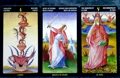 Bosch Tarot: 4 of Chalices, Queen of Swords, & The Hierophant.