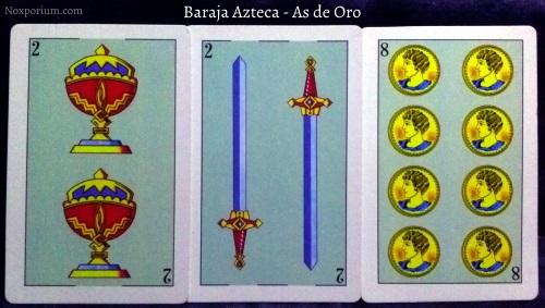 Baraja Azteca - As de Oro: 2 Copas, 2 Espadas, & 8 Oros.
