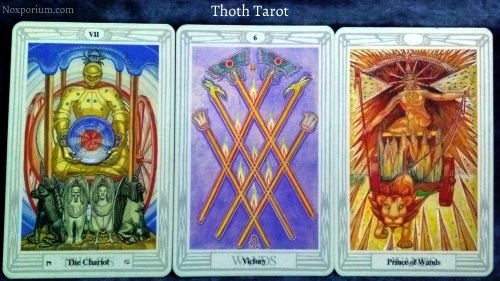 Thoth Tarot: The Chariot, 6 of Wands, & Prince of Wands.