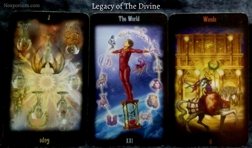 Legacy of the Divine: 7 of Cups reversed, The World, & 6 of Wands.