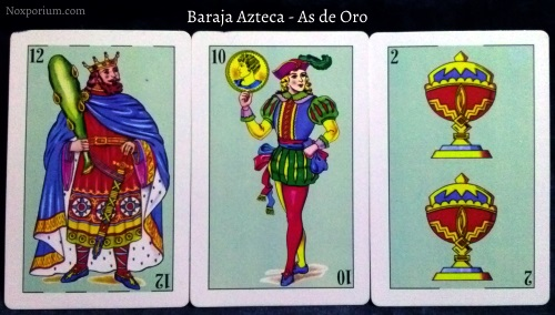 Baraja Azteca - As de Oro: 12 Bastos, 10 Oros, & 2 Copas.