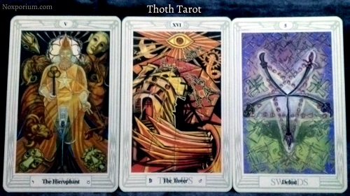 Thoth Tarot: The Hierophant, The Tower, & 5 of Swords.