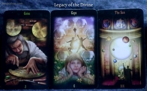Legacy of the Divine: 3 of Coins, 6 of Cups, & The Sun.