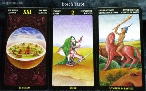 Bosch Tarot: The World, 2 of Swords, & Knight of Wands.