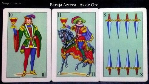 Baraja Azteca - As de Oro: 10 Copas, 11 Copas, & 8 Espadas.