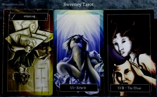 Sweeney Tarot: Ace of Wands reversed, Rebirth [XX], & The Moon.