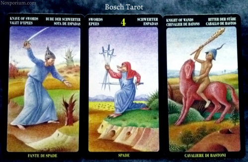 Bosch Tarot: Knave of Swords, 4 of Swords, & Knight of Wands.