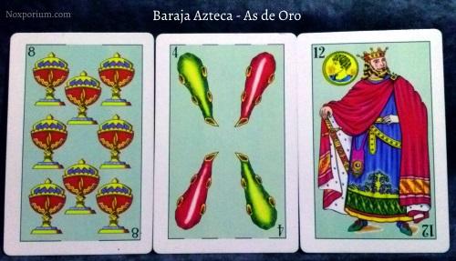 Baraja Azteca - As de Oro: 8 Copas, 4 Bastos, & 12 Oros.