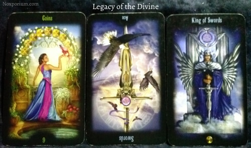 Legacy of the Divine: 9 of Coins, Ace of Swords reversed, & King of Swords.