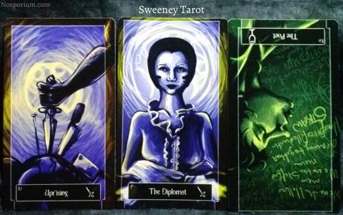 Sweeney Tarot: 10 of Swords, Page of Swords, & Knight of Cups reversed.