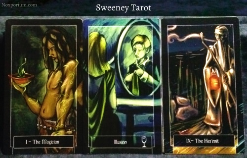 Sweeney Tarot: The Magician, 7 of Cups, & The Hermit.