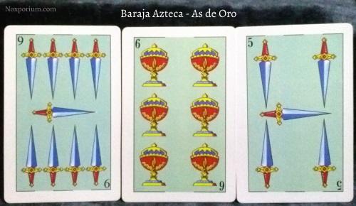 Baraja Azteca - As de Oro: 9 Espadas, 6 Copas, & 5 Espadas.