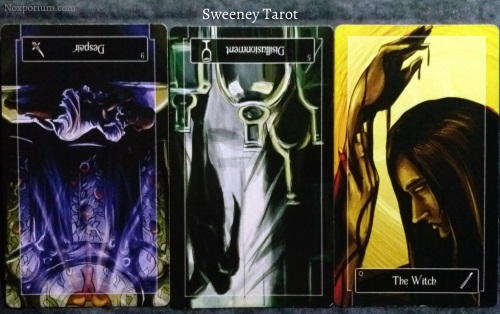 Sweeney Tarot: 9 of Swords reversed, 5 of Cups reversed, & Queen of Wands.