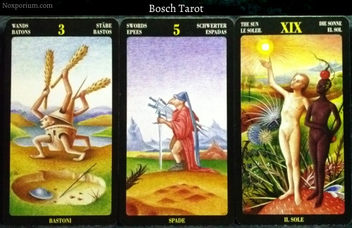 Bosch Tarot: 3 of Wands, 5 of Swords, & The Sun.