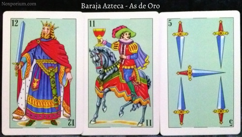 Baraja Azteca - As de Oro: 12 Espadas, 11 Copas, & 5 Espadas.