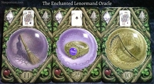 The Enchanted Lenormand Oracle: Broom + Ring + Scythe.