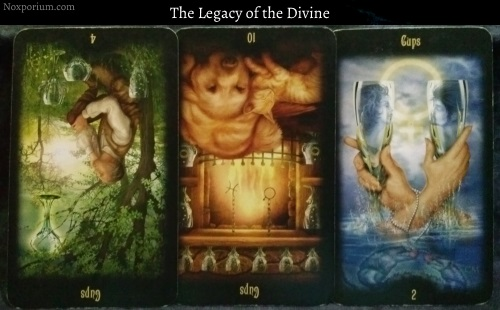 The Legacy of the Divine: 4 of Cups reversed, 10 of Cups reversed, & 2 of Cups.