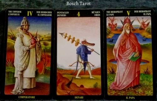 Bosch Tarot: The Emperor, 4 of Pentacles, & The Hierophant.