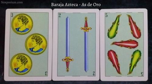 Baraja Azteca - As de Oro: 3 Oros, 2 Espadas, & 5 Bastos.
