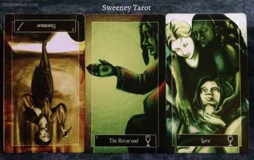 Sweeney Tarot: 2 of Wands reversed, King of Cups, & 2 of Cups.