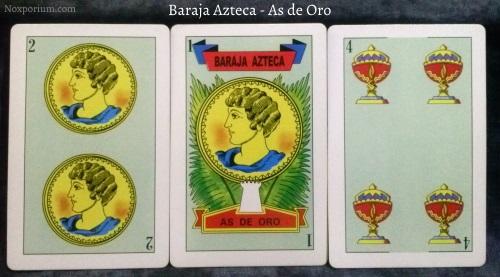 Baraja Azteca - As de Oro: 2 Oros, 1 Oro, & 4 Copas.