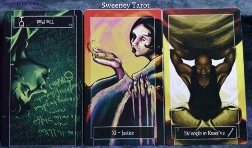 Sweeney Tarot: Knight of Cups reversed, Justice, & 9 of Wands.