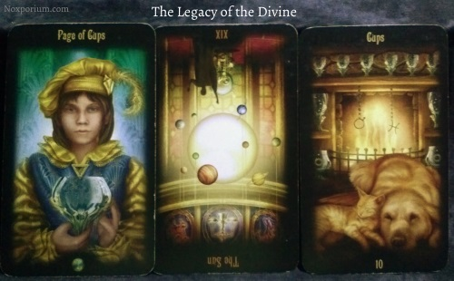 Legacy of the Divine: Page of Cups, The Sun reversed, & 10 of Cups.
