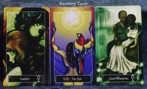 Sweeney Tarot: 10 of Cups, The Star, & 6 of Cups.