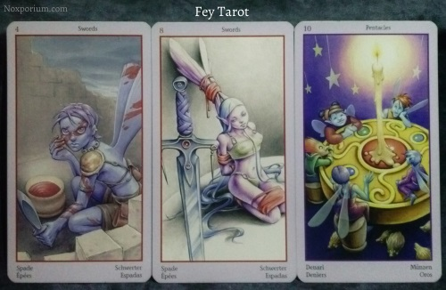 Fey Tarot: 4 of Swords, 8 of Swords, & 10 of Pentacles.