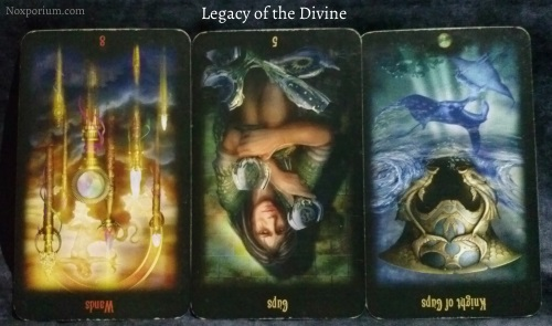 Legacy of the Divine: 8 of Wands<sup>rv</sup>, 5 of Cups<sup>rv</sup>, & Knight of Cups<sup>rv</sup>.