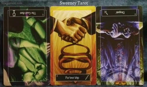 Sweeney Tarot: Queen of Cups<sup>rv</sup>, 3 of Wands, & 9 of Swords<sup>rv</sup>.