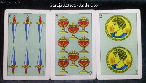 Baraja Azteca - As de Oro: 6 Espadas, 8 Copas, & 2 Oros.