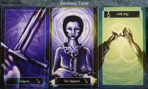 Sweeney Tarot: Ace of Swords, Page of Swords, & Ace of Cups reversed.