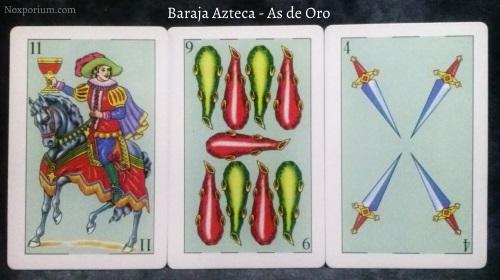 Baraja Azteca - As de Oro: 11 Copas, 9 Bastos, & 4 Espadas.