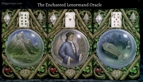 The Enchanted Lenormand Oracle: Mountain + Man + Coffin.