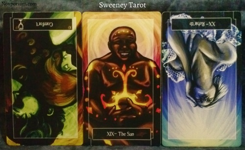 Sweeney Tarot: 10 of Cups reversed, The Sun, & Rebirth [XX] reversed.