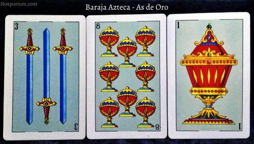 Baraja Azteca - As de Oro: 3 Espadas, 8 Copas, & 1 Copa.