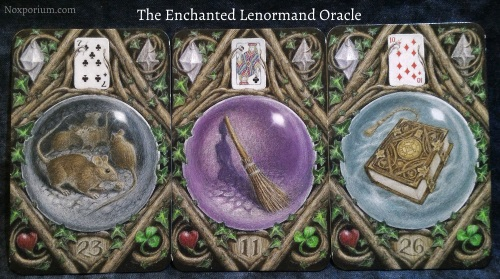 The Enchanted Lenormand Oracle: Mice + Broom + Book.