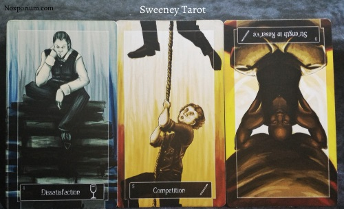 The Sweeney Tarot: 4 of Cups, 5 of Wands, & 9 of wands reversed.